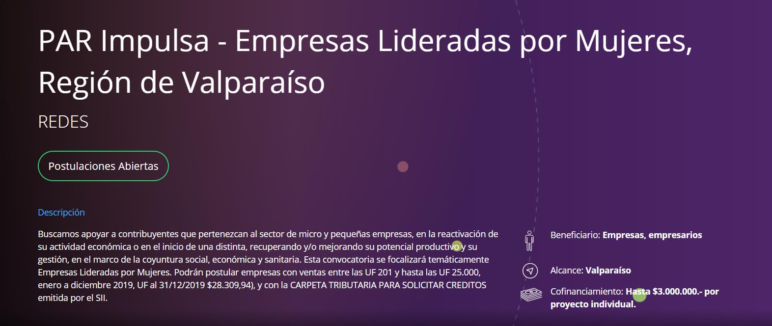 Se abre la Convocatoria PAR IMPULSA, con enfoque de género para la provincia de Valparaíso, averigua los requisitos de esta oportunidad que cierra este miércoles 2 de diciembre a las 15:00 horas.